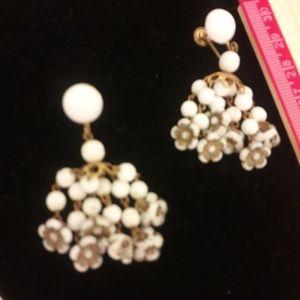 Vintage possible milk glass chandelier earrings